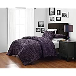 Dark Purple Queen Size 3-Piece Ruched Duvet Cover Set with 1pc Duvet Insert Value Bedding Set By Cozy Beddings