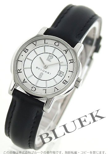 Bvlgari Solotempo White Dial Black Leather Ladies Watch ST29WSLD