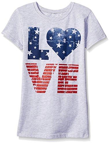 Hybrid Big Girls Love Use Short Sleeve Tee Shirt, Heather Grey, Small/6-6X
