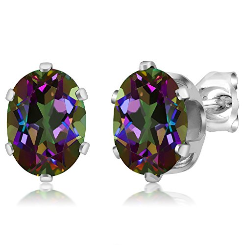 Sterling Silver Mystic Topaz Gemstone Birthstone Green Stud Earrings (2.90 cttw, Oval 8X6MM) (Mystic Fire Topaz Gem compare prices)