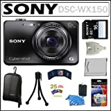 Huge Discount on Sony Cyber-shot DSC-WX150 18.2 MP Digital Camera with 10x Optical Zoom and 3-inch LCD in Black + Sony 16GB SDHC + Sony Camera Case + Sony Battery Pack + Accessory Kit