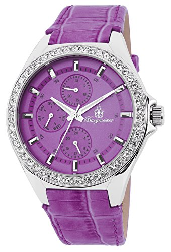 Burgmeister Women's Quartz Watch with Purple Dial Analogue Display and Purple Leather Bracelet BM529-100