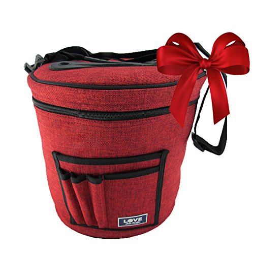 Yarn Storage Bag for Ultimate Organization. Portable, Lightweight and Easy to Carry Knitting/Crochet Yarn Holder with Pockets for Accessories and Slits on Top to Protect Wool and Prevent Tangling. (Knitting Accessories Organizer compare prices)