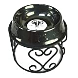 Platinum Pets Scroll Single Diner Stand with 6.25 Cup Embossed Non-Tip Stainless Steel Bowl, Black Chrome
