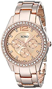 XOXO Women's XO5477 Rose Gold Bracelet With Rhinestones Accent Bezel Watch