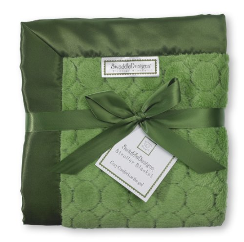 SwaddleDesigns Stroller Blanket, Jewel Tone Puff Circles, Pure Green - 1
