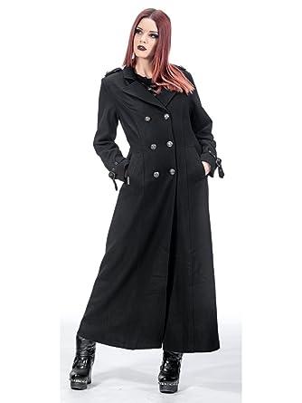 Queen of Darkness, Langer Mantel mit Schnallen und Knopfleiste