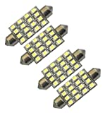 "Cutequeen White 42mm(1.72"") 16-SMD 12V Festoon Dome Light LED Bulbs 211-2 212-2 569 578 - White (pack of 4)"