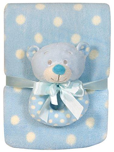 Stephan Baby Super Soft Coral Fleece Polka Dot Crib Blanket and Plush Ring Rattle Gift Set, Blue Bear