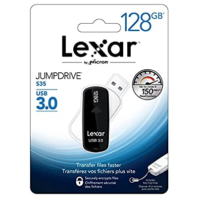 Lexar JumpDrive S35 128GB USB 3.0 Flash Drive - LJDS35-128ABNL (Black)
