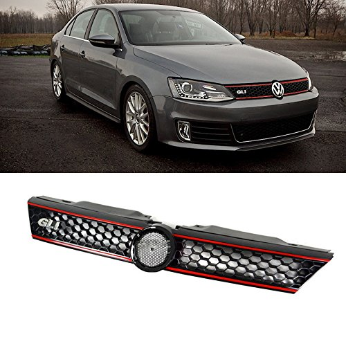 VioGi 1pc Black Strong ABS Plastic Honeycomb Mesh Style Front Main Upper Grille With GLI Emblem & Red Trim Fit 11-14 Volkswagen Jetta MK6 4-Door Sedan Only (2012 Jetta Front Emblem compare prices)