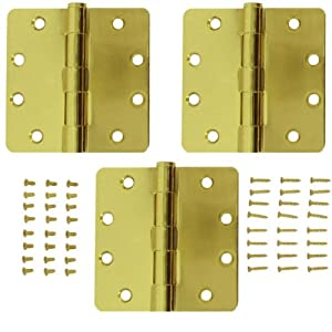 Stanley 821-553 4 Inch 1/4 Radius Template Door Hinges Satin Brass (Pack of 3)