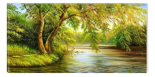 Country Landscape Willow Tree Canvas Wall Art, 5 Stars Gift Startonight Nature 23.62 X 47.2 In