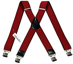 Mens Suspenders Wide Adjustable and Elastic Braces X Shape with Very Strong Clips - Heavy Duty (Red)