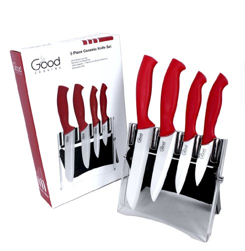 Ceramic Knife Set with Block- 5 Pc Cutlery Ceramic Knives Set By Good Cooking (Red Handles)