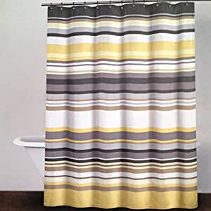 Dkny Crosby Stripe Yellow Neutral Fabric Shower Curtain Gray Yellow Cocoa Broad