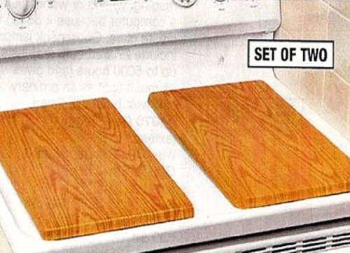 DECORATIVE WOOD-TONE METAL BURNER COVERS - WALNUT (SET OF 2) (Decorative Stove Burner Covers compare prices)