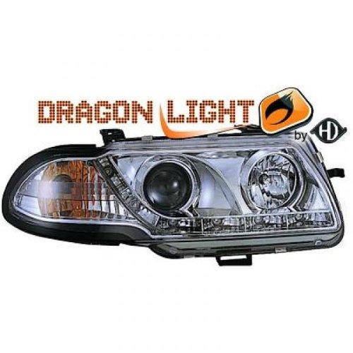 phares à LED diurnes, Dragon Lights, chrome ASTRA F de 1994 à 1998 chrome DRAGON LIGHTS réglage man H1+H1