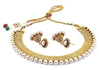 Youbella Gold Plated Pearl Temple Coin Choker Necklace Earrings Set For Women