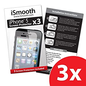 iSmooth iPhone 5 Screen Protector - (3 Pack) - Precision Cutouts and Precision Fit for Your Apple iPhone 5 - Free Lifetime Replacement Guarantee - Package Includes BONUS Cleaning Cloth and Three (3) Screen Protectors