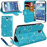 SmartEShop Diamond Leather Glitter Wallet Stand Case Cover For SAMSUNG Galaxy S4 Mini i9190
