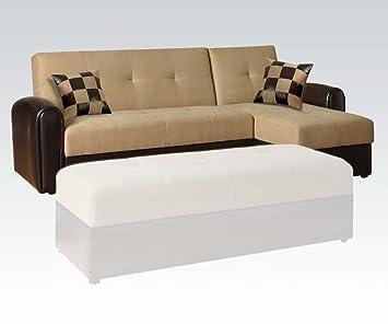Acme 05775KIT Modern Reversible Adj. Sofa W/Storage Sand Microfiber/Espresso PU