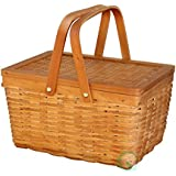"12.5"" Chipwood Picnic Basket with Folding Handles"
