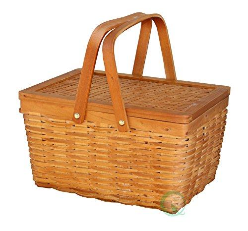 "12.5"" Chipwood Picnic Basket with Folding Handles 0"