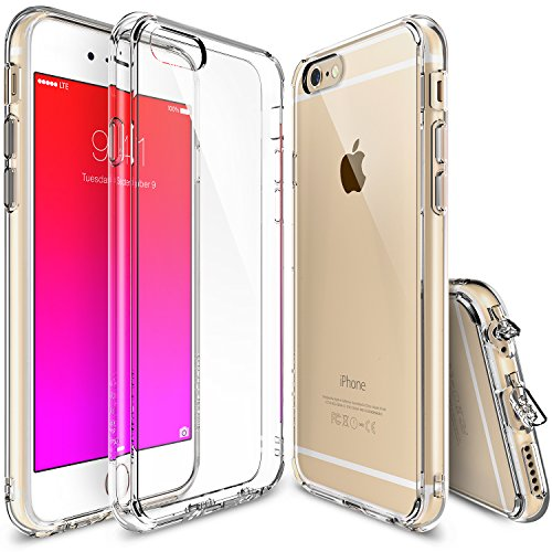 iPhone 6S Case, Ringke [Fusion] Clear PC Back TPU Bumper w/ Screen Protector [Drop Protection/Shock Absorption Technology][Attached Dust Cap] For Apple iPhone 6S / 6 - Crystal View