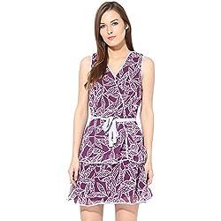 Citrine Women's Skater Dress (ZCTCWDRS0023_Purple Off White_Large)