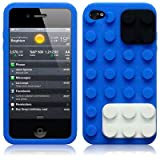 iPhone 4S / iPhone 4 Blue Brick Style Silicone Skin Case / Cover / Shellby TERRAPIN