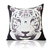 MARY ST 18x18 Inch Velvet Decorative Throw Pillow Cover Cushion Case, Tiger (Black)