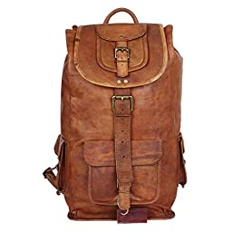 Dios Genuine Leather Backpack, Fashion Shoolbag, Camping Bag, Shoulder Bag, Leather Rucksack (Size 19X14X6 Inches)