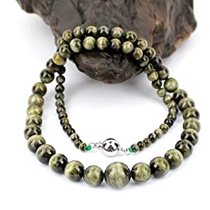 O-stone Natural 3A Best Green Tourmaline Paradise Necklace Famly Beads Collection with Cat Eye Effect Bracelet 4mm-11mm Bracelet Grounding Stone Protection Very Precious Gemstone