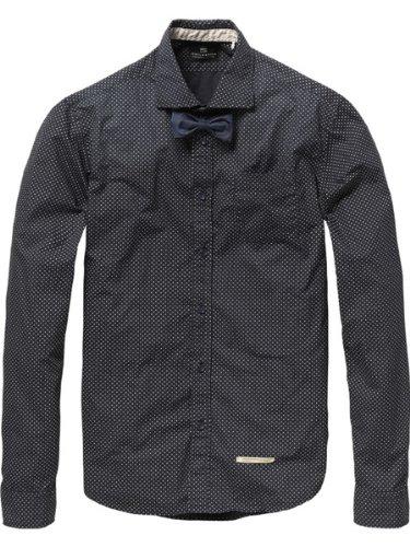 Scotch & Soda Long Sleeve Dress Shirt with Bow Tie Clip Dessin A Medium