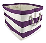 "DII Home Essentials Woven Paper, Collapsible, Convenient Storage Bin For Office, Bedroom, Closet, Toys, Laundry - Large (17"" Long x 12"" Wide x 12.5"" High) in Eggplant Rugby Stripe"