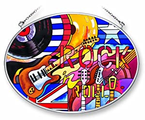 Amia Suncatcher Featuring a Rock 'n Roll Music Design, Hand Painted Glass, 7-Inch by 5-1/4-Inch Oval