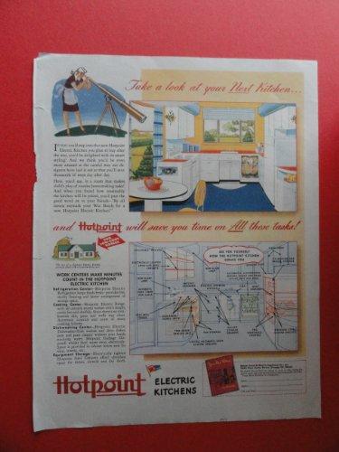 Hotpoint Electric Kitchens,1944 Print Ad (Woman/Telescope) 1944 Orinigal Magazine Print Art.