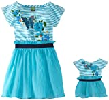 Dollie & Me Girls 2-6X Butterfly Striped Dress With Doll Outfit