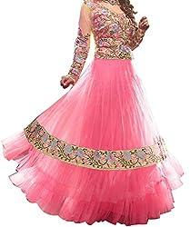 Maruti Creation Women's Georgette Semi-stitched Anarkali Suit Dress Material (MC1023_FREE_SIZE_PINK)