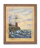 Ocean Lake Lighthouse Beach Landscape Home Decor Wall Picture Oak Framed Art Print