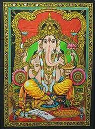 Lord Ganesha Deity Art Sequin Work Indian God Batik Wall Hanging 43\
