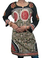 Indiatrendz Womens Kurta Cotton Printed Kurti Casual Wear Dress Full Sleev