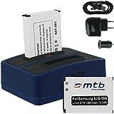 2x Batterie + Double Chargeur (USB/Auto/Secteur) pour Samsung SLB-10A / Toshiba Camileo X-Sports / JVC Adixxion / Silvercrest / Medion Action Cam.. v. liste