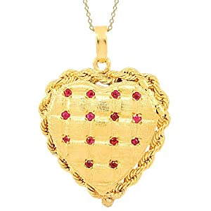 14K Yellow Gold Womens Ruby Heart Locket 0.25 Ctw