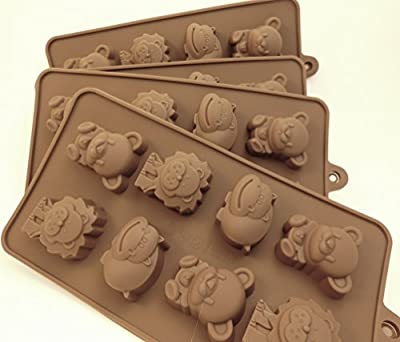 set of 4 chocolate candy molds, Lions/bears/hippos- silicone molds for ice, candy, chocolate, jellos, gummies, crayons, etc.