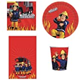 FIREMAN SAM BIRTHDAY PARTY TABLEWARE PACK PLATES NAPKINS CUPS TABLECOVER