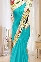Vinayak Textile Women's Sea Blue colored Pure Georgette Bollywood Party Wear Saree