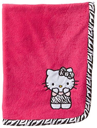 Hello Kitty Baby-Girls Newborn Plush Blanket with Zebra Print