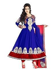 Lookslady Georgette Blue Women Clothing Semi Stitched Salwar Kameez Suit
